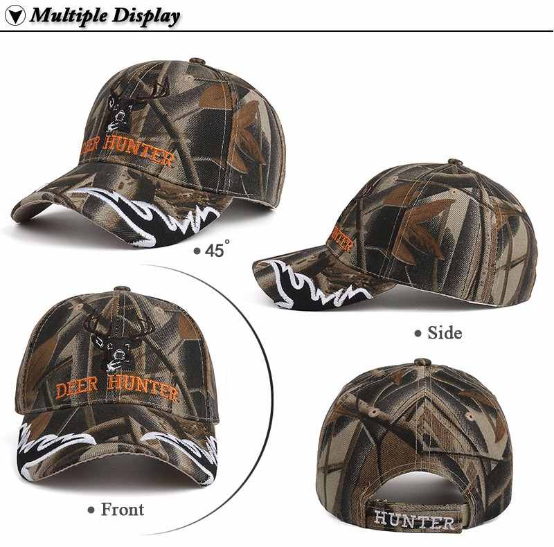 """Deer Hunter"" Embroidered Baseball Cap - Front Angle, Side, Front and Rear Views"