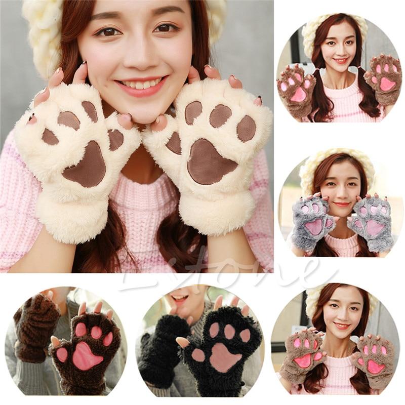 2017 Winter Lovely Women Bear Cat Claw Paw Mitten Plush Gloves Short Finger Half Gloves Ladies Half Cover Female Gloves luvas