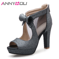ANNYMOLI High Heels Women Shoes Platform Thick High Heel Party Shoes Sexy Bow Peep Toe Pumps Lady Spring Silver Large Size 33 43