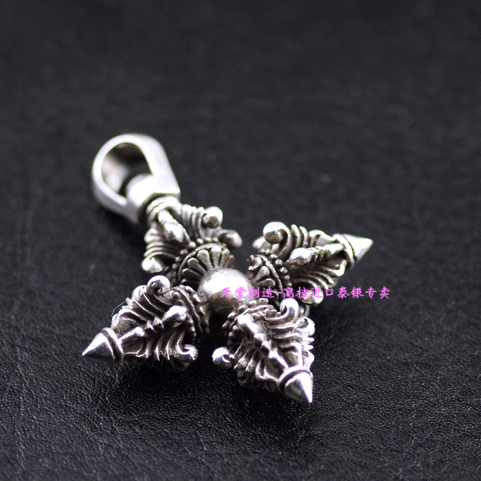 Thailand imports, 925 Solid Sterling Silver Cross Vajra Pendant thailand imports solid 925 sterling silver pendant stereo mini boxing gloves