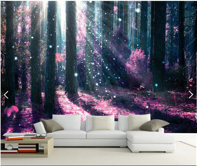 3d wallpaper custom mural non-woven 3d room wallpaper Beautiful purple forest tree painting mural photo 3d wall murals wallpaper