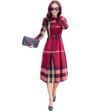 2017 Women Spring Autumn Elegant A line Plaid Long Sleeve Dress Sashes New Arrival Rushed Empire