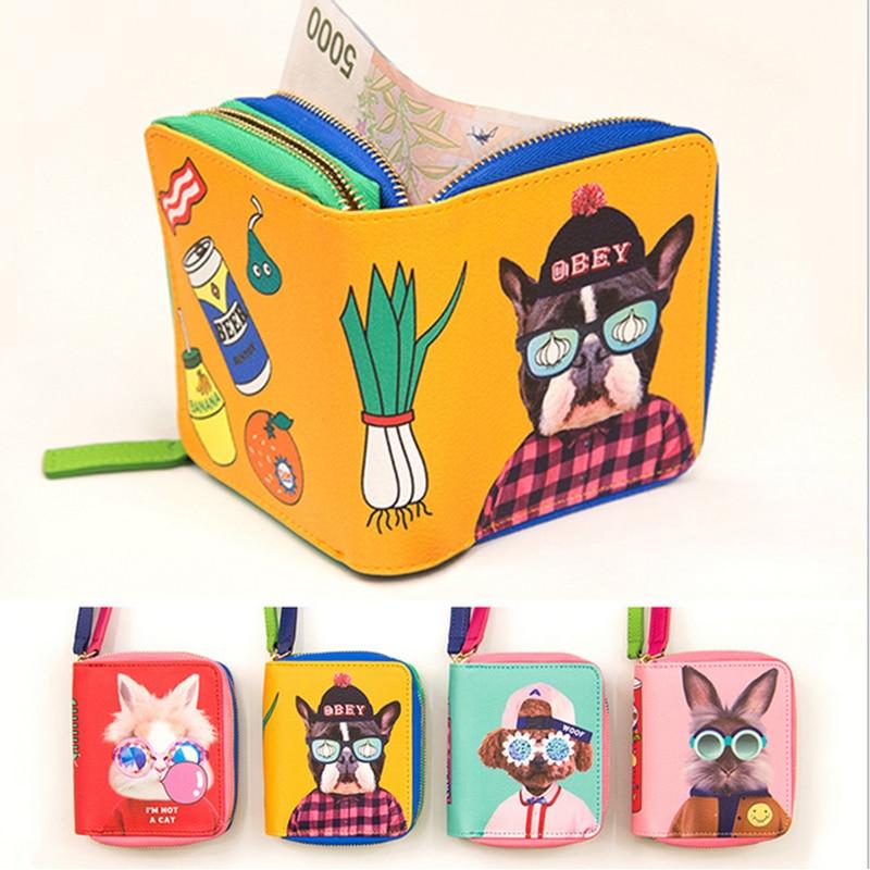 Cartoon Dog Women Purse Bag Cute Bulldog/Teddy/Rabbit Girls Wallet Short Money Clip Dollar Price Zipper Coin Fashion Pockets