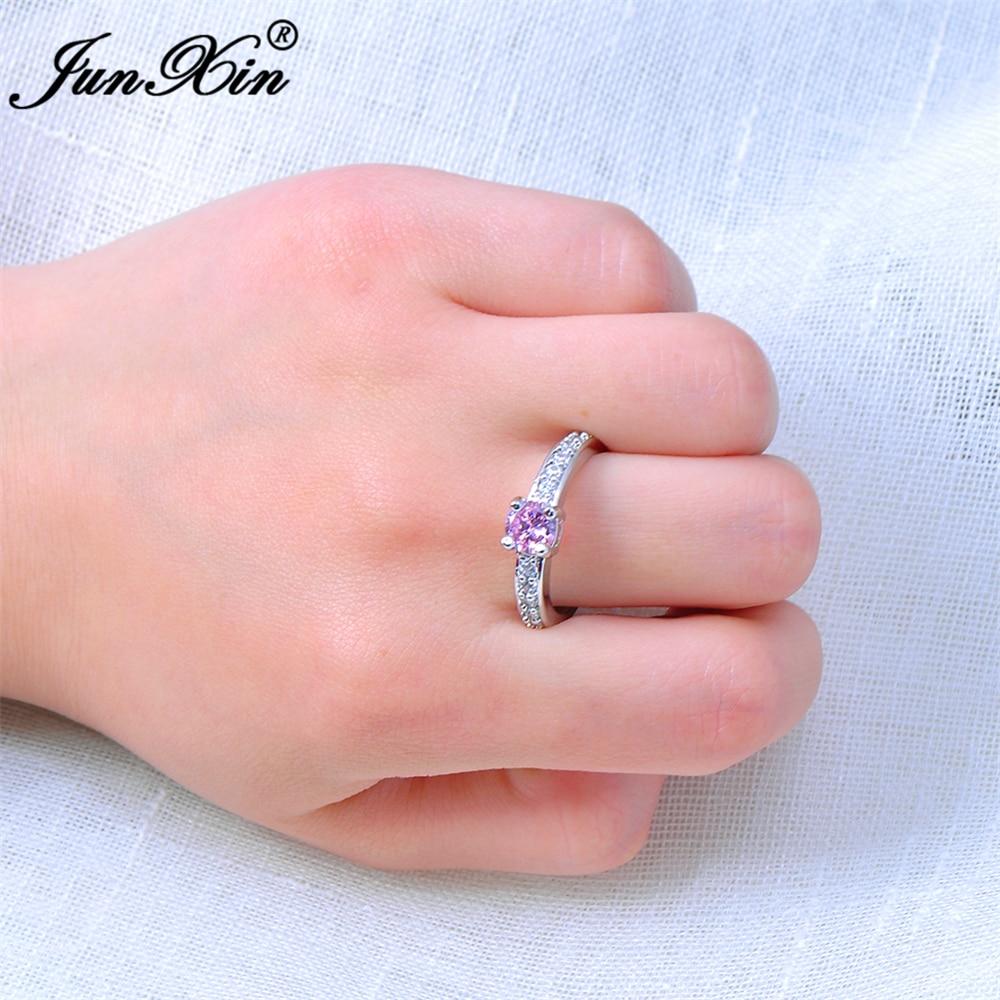 JUNXIN Female Cute Pink Round Ring Fashion White Gold Wedding ...