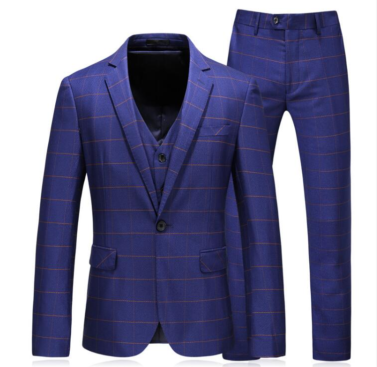 (Jacket+Vest+Pants)2019 Custom Slim Fit Evening Suit Men Fashion Classic Suits Men's Stripe Business Wedding Suit Men Full Dress