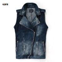 Idopy Men S Motorcycle Slim Fit Ripped Irregular Denim Vest Zipper Up Jacket Outerwear Coat For
