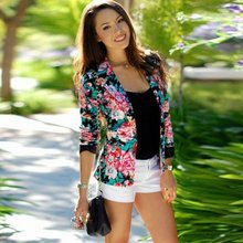 New Spring Fashion Women One Button Jacket Slim Casual Business Blazer Suit Floral Coat Outwear Clothing