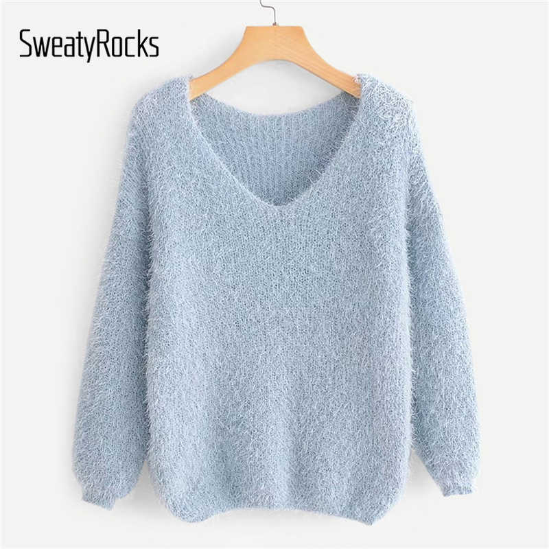 SweatyRocks V-Neck Solid Female Fuzzy Jumper Long Sleeve Blue Sweater 2018 New Autumn Casual Women Knitted Sweaters And Tops