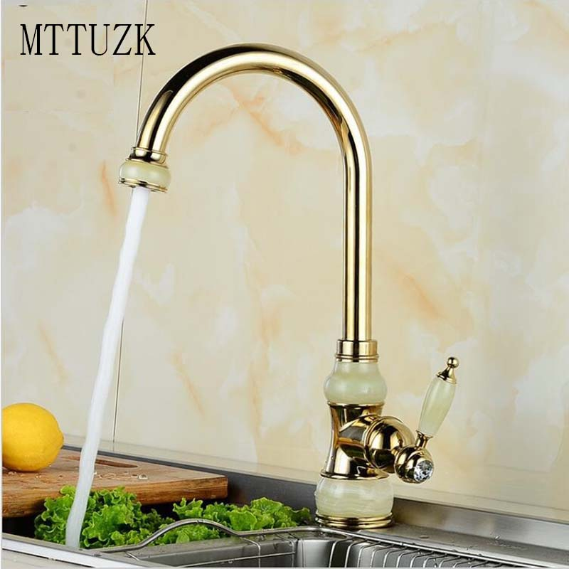 ФОТО MTTUZK Free Shipping Brass torneira cozinha with Marble kitchen faucet/single handle Gold finish basin sink mixers taps