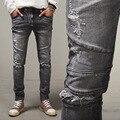 2016 Marca Famosa Paris Passarela Mostra calças de Brim Dos Homens Esticar Cinza Homens Jeans Skinny Jeans lavado Retro Magro Calça Jeans Motociclista Balmai Mens