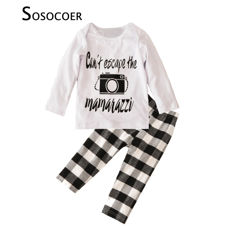 SOSOCOER Toddler Boys Clothing Set Autumn Cartoon Camera T Shirts+Plaid Pants 2pcs Baby Clothes Fashion Letter Boy Clothing Sets