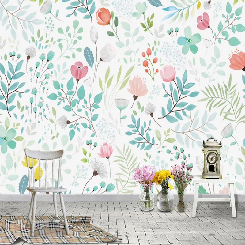 Nordic Style Hand Painted Flowers Mural Wallpaper Living Room Bedroom Background Wall Painting Pastoral Home Decor 3D Wallpapers