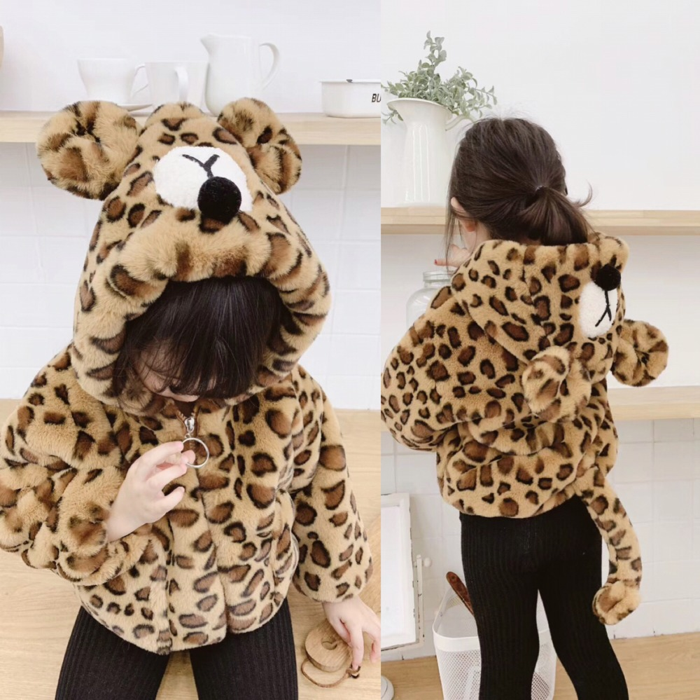 boutique baby winter coat faux fur Leopard animal design unisex boys girls winter thicken warm jacket