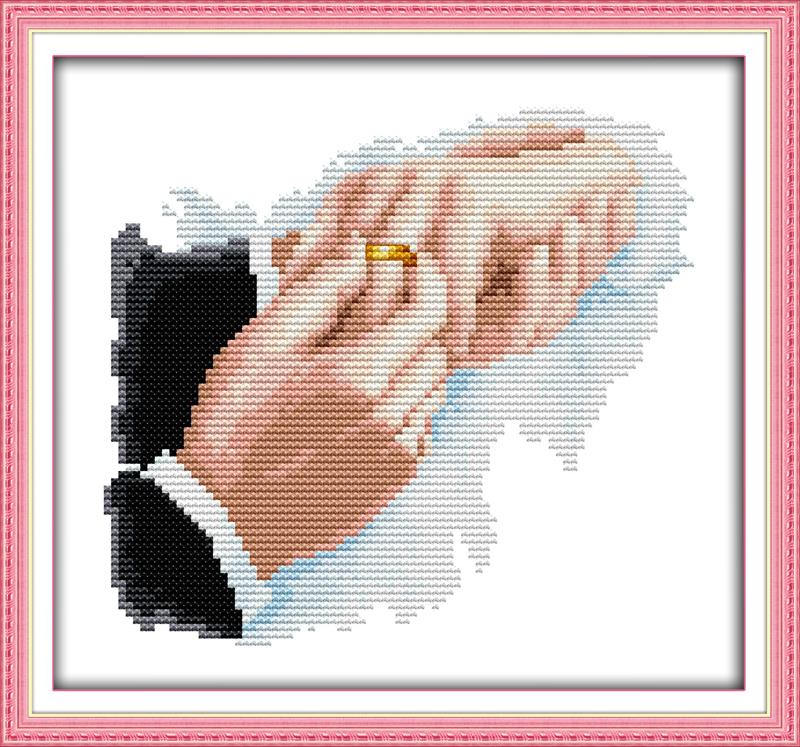 Embroidery Cross Hold Hands For My Life DIY Needlework Free DMC Counted Cross Stitch Kits For Embroidery Knitting Needles Crafts
