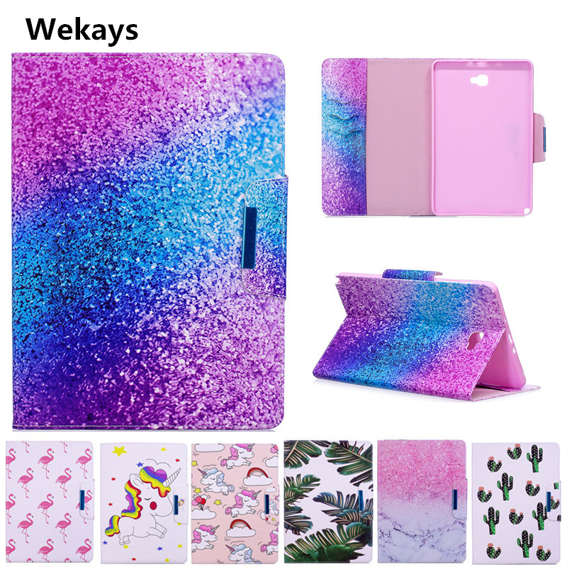 Wekays Case for Samsung Galaxy Tab A 6 A6 10.1 P580 P585 Cute Cartoon Flamingo Unicorn PU Flip Leather Cover Case Fundas Capa cute unicorn pu leather wallet flip protective case cover with card slots and stand for samsung galaxy j5 2017