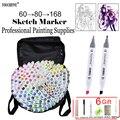 Touchfive 60/80/168 colori di arte marcatori marcatore alcool Oleoso per il disegno manga della penna della Spazzola di Disegno di Animazione Arte forniture Marcador