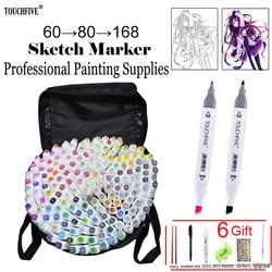 Touchfive 60/80/168 kleuren art markers Vette alcohol marker voor tekening manga Borstel pen Animatie Ontwerp Art levert Marcador