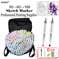 touchfive 60/80/168 colors art markers Oily alcohol marker for drawing manga Brush pen Animation Design Art Supplies Marcador