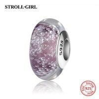 Venda quente 925 prata cintilante cor gotas de água contas de vidro Murano roxo encantos fit pandora autêntica pulseira diy jóias