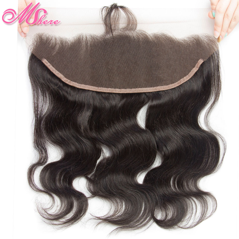 Pre Plucked Lace Frontal With Baby Hair Mshere Body Wave Human Hair 13 4 Ear To