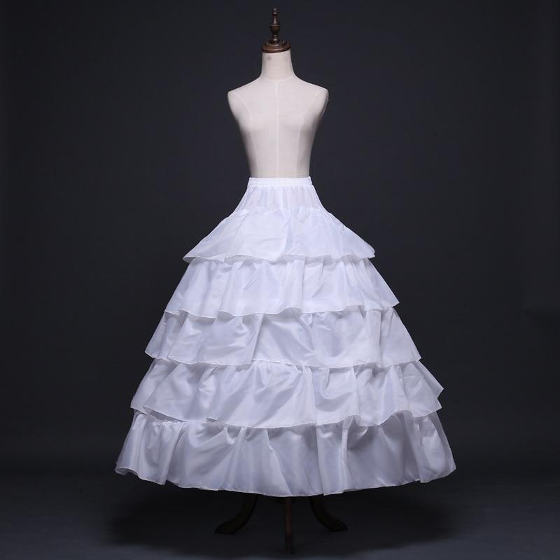 New Elastic Waist White 4 Hoops Lotus leaf skirt Petticoat Crinoline Slip Underskirt For Wedding Dress Bridal Gown In Stock