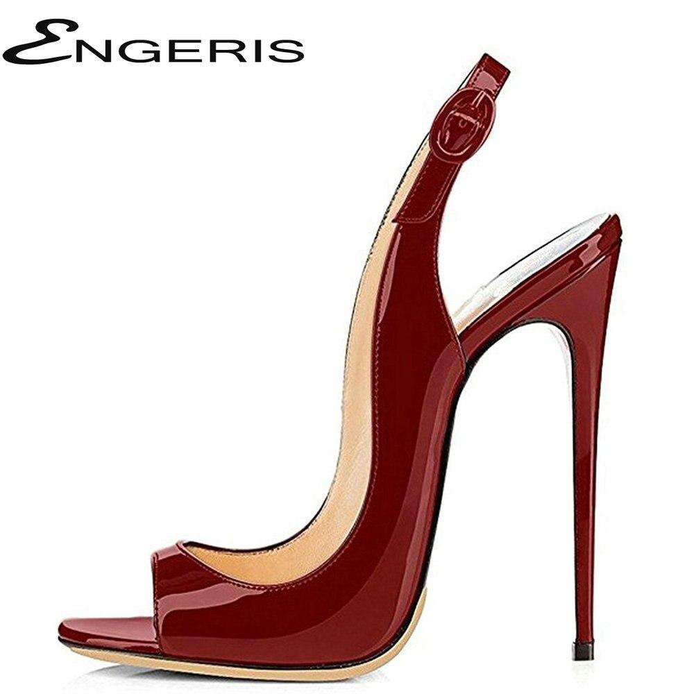 62630ea4d29 ENGERIS Summer Women High Heels Sandals Patent Leather Shoes Woman Party  Wedding Ladies Pumps Ankle Strap