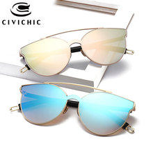 CIVICHIC New Brand Designer Women Sunglasses RETRO Cat Eye Oculos De Sol Hipster Mirror Glasses Flat Eyewear UV400 Lunettes E372
