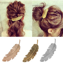 M MISM Hair Clips For Women Metal Feather Silver Golden Barrette Vintage Leaves Hairpins Korean Fashion Prendedor De Cabelo(China)