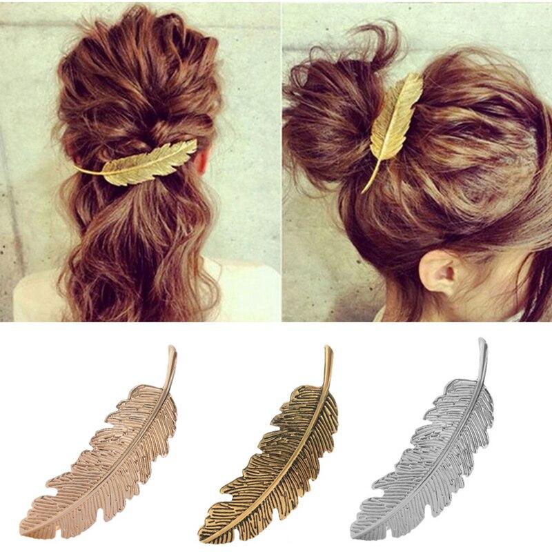 M MISM винтажная форма листьев перо металлические заколки для девочек женские длинные заколки шпильки корейские модные милые аксессуары для волос