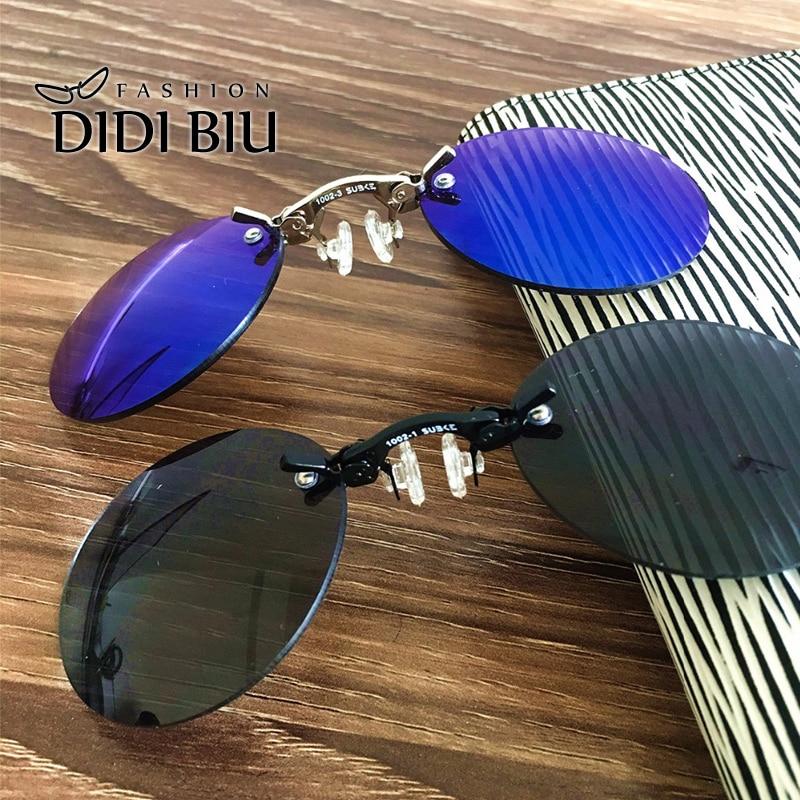 DIDI Pequeño Clip Redondo En La Nariz Mini Gafas de Sol Hombres Marca Cool Steampunk Gafas de Sol Mujeres Vintage Metal Negro Recubrimiento Gafas H689