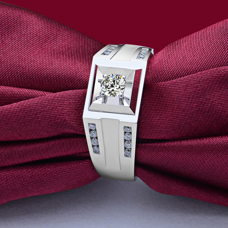 Natural Diamond Wedding Ring for Men 0.19+0.22ct Diamond Handmade Engagement Jewelry 18K White Gold