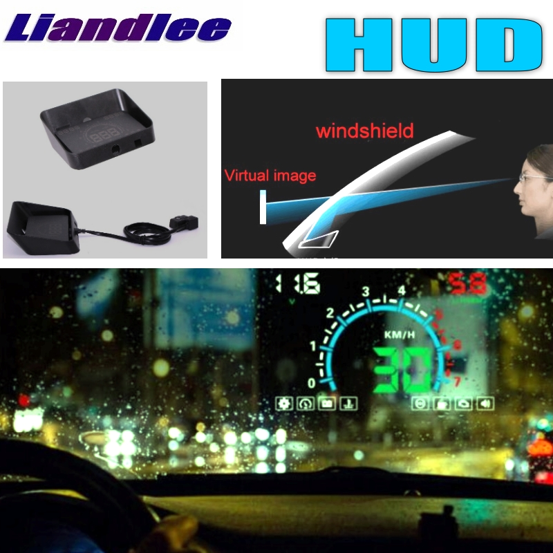 Liandlee HUD For Mitsubishi Space Star Attrage Magna Outlander Airtrek Monitor Speed Projector Windshield Vehicle Head Up