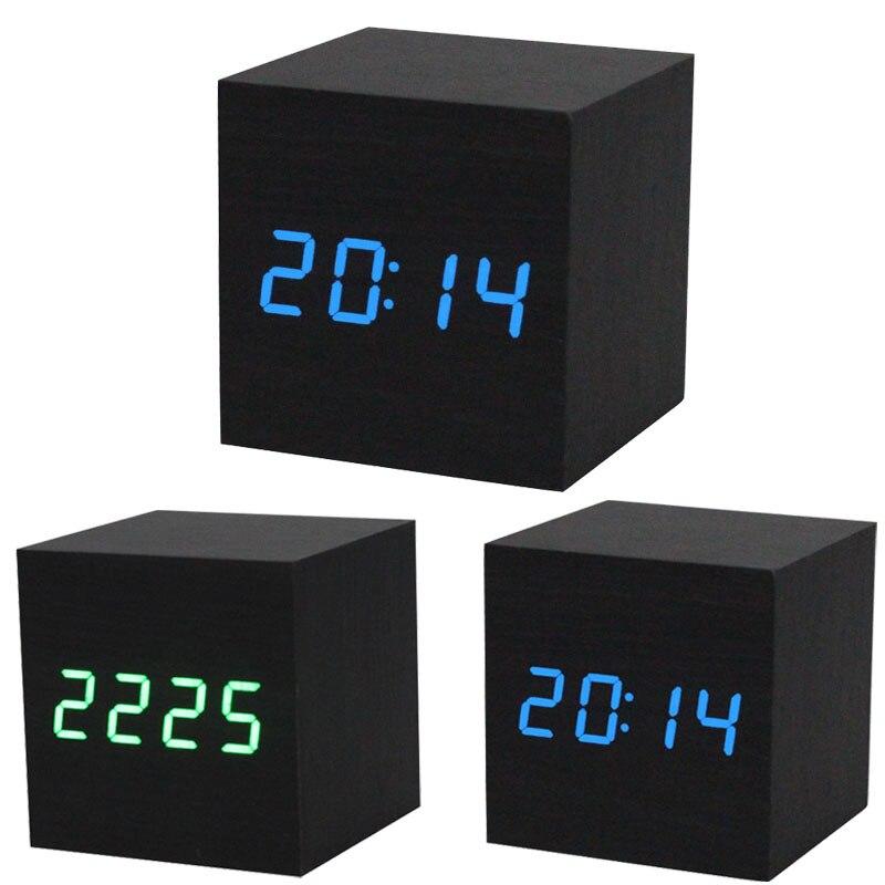 1 unid Digital LED negro de madera escritorio de madera alarma marrón reloj suena Control de voz pantalla LED de escritorio Mesa Digital relojes D40JL21