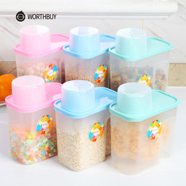 WORTHBUY Multifunctional Cereal Storage Container Transparent Plastic Rice  Food Cereal Storage Box With Lid Kitchen Organizer