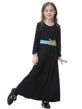 Fashion Muslim Maxi Dress Flower Children Abaya Girls Long Robe Gowns Middle East Moroccan Jubah Ramadan Arab Islamic Clothing