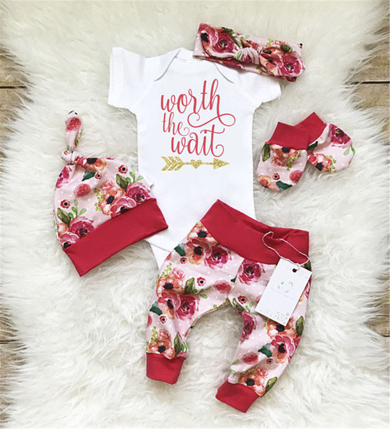 Newborn Baby Girls Worth the Wait Tops Romper Pants Floral Coming Home Outfits pudcoco Infant BabyGirls Cotton Romper 4PCS