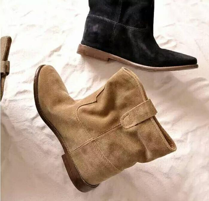 Top Qulity Beige Coffee Black Suede Chelsea Boots Elastic Patchwork Woman Motorcycle Ankle Cowboy Casual Shoes Free Ship