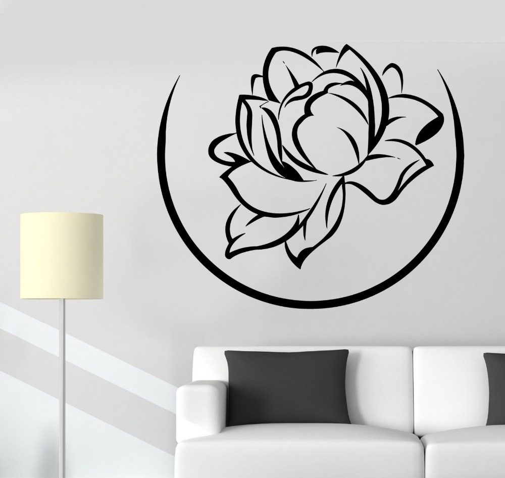 Home Decals Lotus Floral Flower Wall Stickers Removable Buddha Vinyl Decal Mural Room Decor CW-50