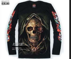 93a5feddb4262 VANLED street punk luminous long mens cotton skull style