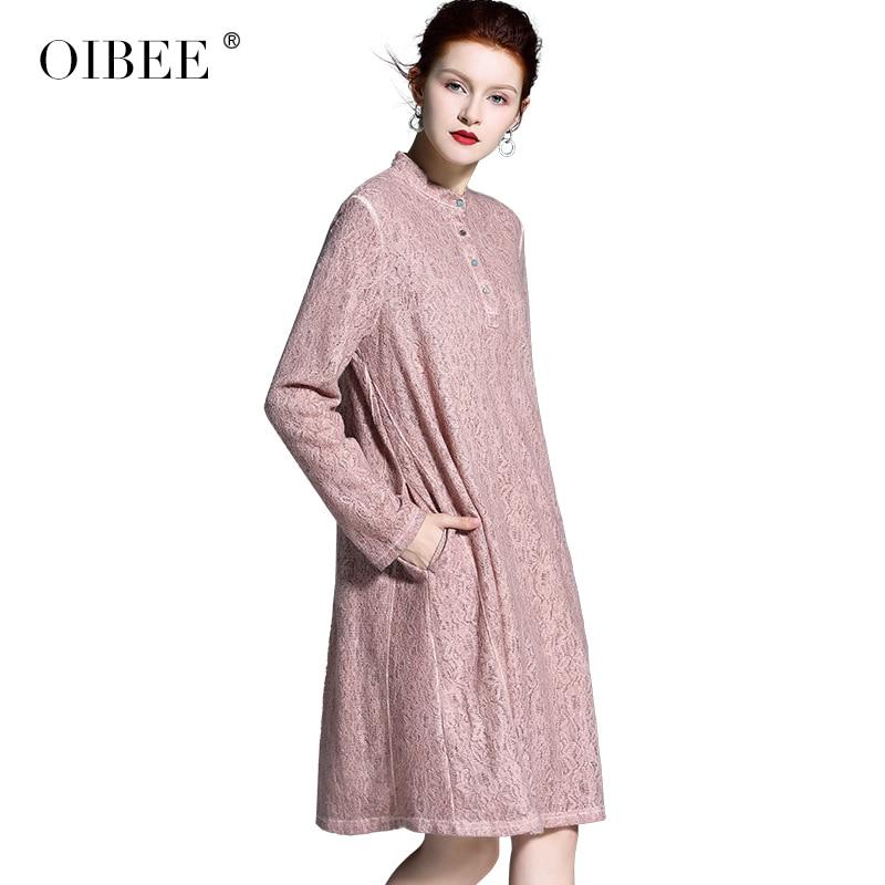 Swing Femmes Dentelle Brodé Manches Sauvage Lâche Robe Pink La Longue Nouvelle De Coréenne Longues Big Version Creux Oibee2019 Printemps À sQCxhrtd