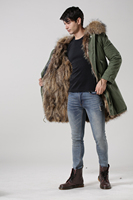 Real fox fur lined natural color with real raccoon fur hood,unisex parka jacket