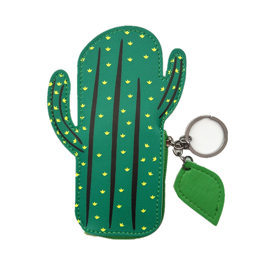 M009 Lovely Design Women Purses Coin Bag Cartoon Green Cactus Zero Key Ring Mini Cloth Bag Women Girl Student Gift Wholesale m705 2018 cute cartoon women cloth bag fashion coin purses creative alpaca design handbag student girl women gift wholesale