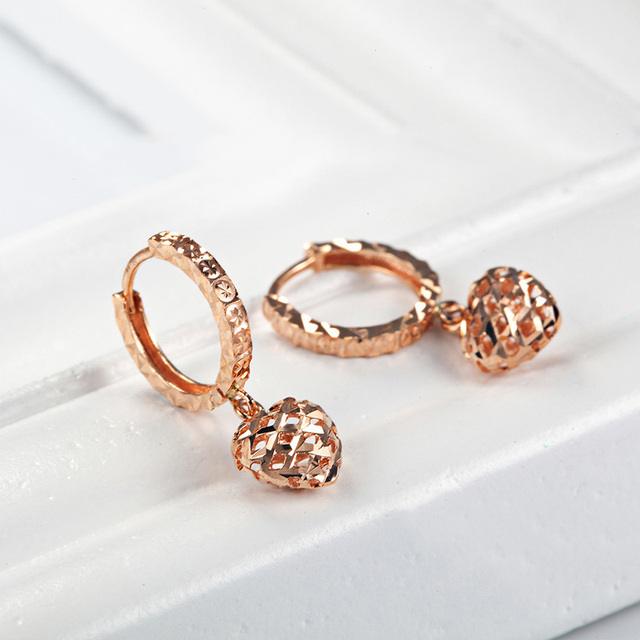 18K Pure Gold Earring Real AU 750 Solid Gold Earrings Good Beautiful Heart Upscale Trendy Classic Fine Jewelry Hot Sell New 2020 3
