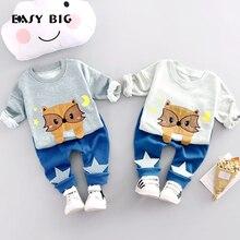 EASY BIG 2017 Spring Unisex Children's Sets 100% Cottons Boys Girls Cute Pants+T-shirts Kids Top Clothes Sets CC0032