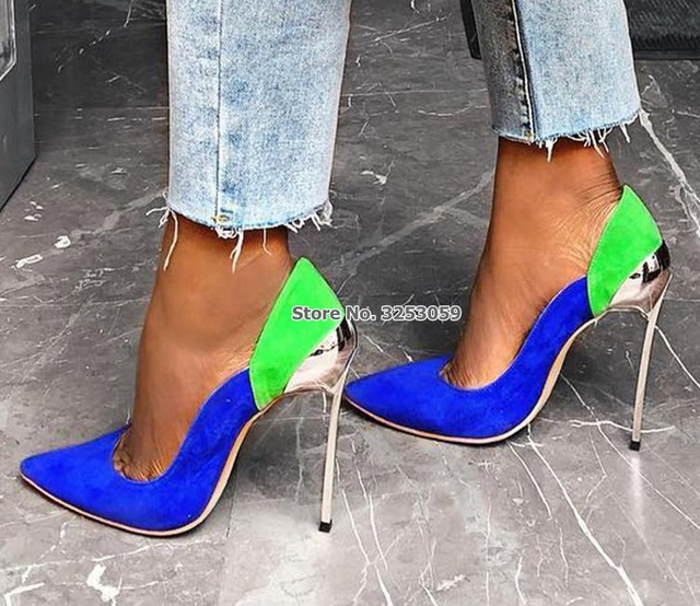 67e53f973f ALMUDENA Sexy Metal Blade Heel Color Patchwork High Shoes Green Blue Pink  Suede Mixed Decorated Shallow Pumps