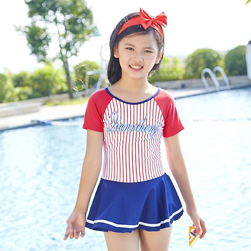 95b7c4ee78 2018 New Gril Big Children s Swimwear Short Sleeves One Piece swimsuit  Sport Swimsuit Grils Sweet Skirt