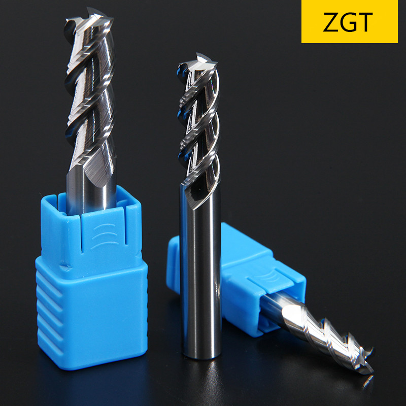 ZGT Wood Cutter Milling Tools Mill HRC50 3 Flute Carbide Tungsten Steel Milling Cutter End Mill For Aluminum Copper Cnc Cutter
