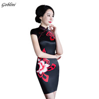 Black Red Short Cheongsam Dress Traditional Vintage Chinese Women Satin Short Sleeve Slim Qipao Flower Oriental
