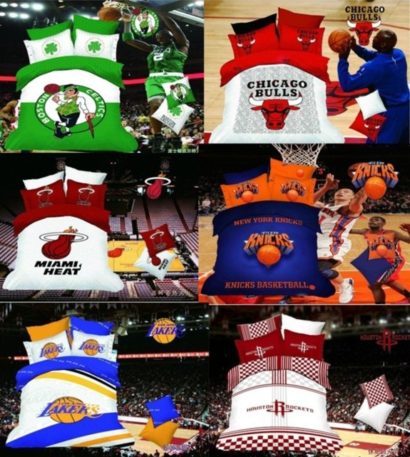 New Free Shipping Cotton Basketball Heat La Houston Rockets Knicks Printed Bedclothes Bed Linen Duvet Cover