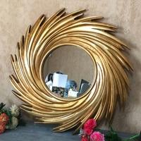 European American Style Frame Makeup Comb Mirror Wall Hanging Decorative Mirror Nordic Wall Creative Wash Mirror